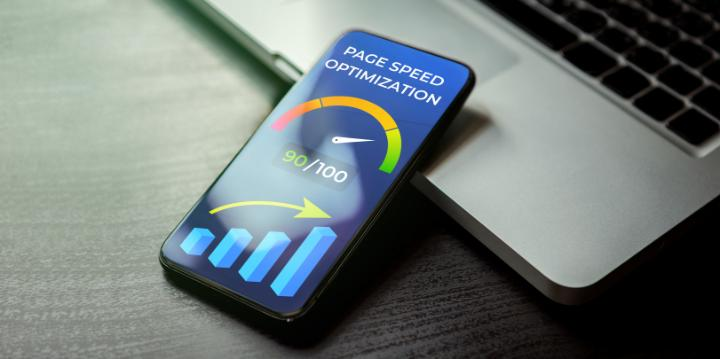 Smartphone with speed graph on screen